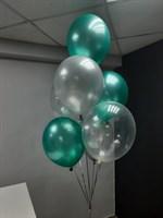 Композиция №433 из зеленых и прозрачных шаров